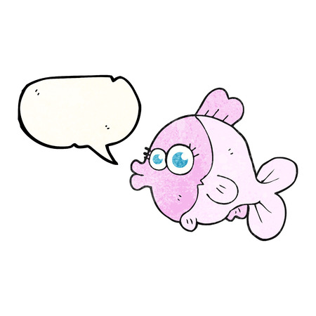 pretty eyes: funny freehand speech bubble textured cartoon fish with big pretty eyes