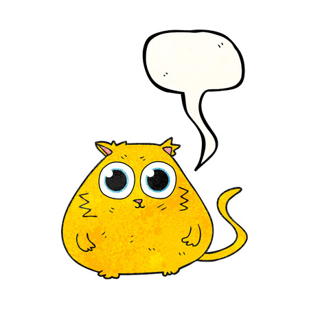 pretty eyes: freehand speech bubble textured cartoon cat with big pretty eyes Illustration