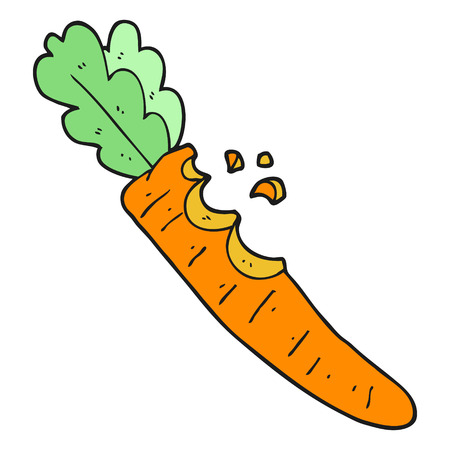 nibbled: freehand drawn cartoon bitten carrot