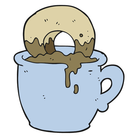 dunking: freehand drawn cartoon donut dunked in coffee Illustration