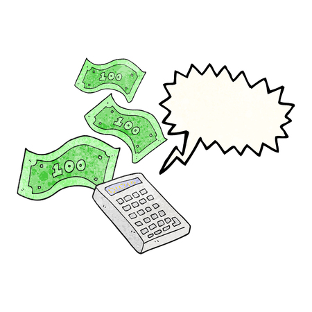 counting money: freehand drawn texture speech bubble cartoon calculator counting money