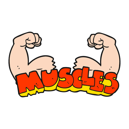 muscle arm: freehand drawn cartoon muscles symbol