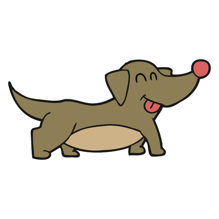 little dog: freehand drawn cartoon happy little dog
