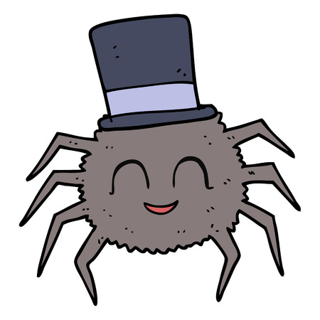 top hat cartoon: freehand drawn cartoon spider wearing top hat Illustration