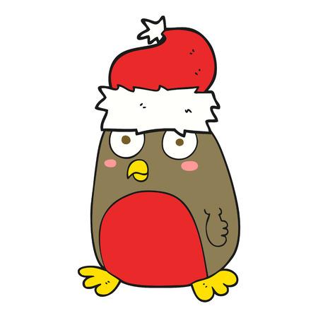 robin: freehand drawn cartoon christmas robin