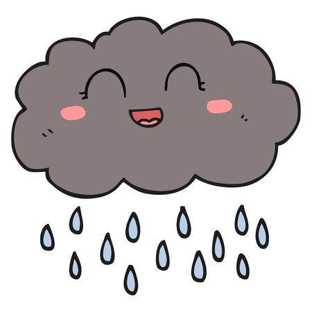 rain cloud: freehand drawn cartoon rain cloud