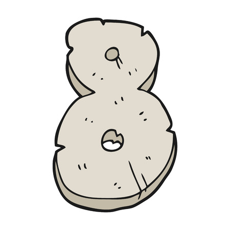 numbers clipart: freehand drawn cartoon stone number eight Illustration