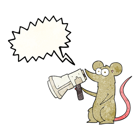 loudhailer: freehand drawn texture speech bubble cartoon mouse with megaphone Illustration
