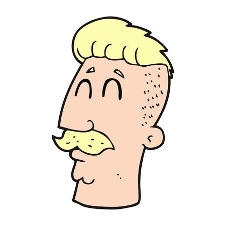 hair cut: freehand drawn cartoon man with hipster hair cut