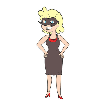 masked ball: freehand drawn cartoon woman wearing mask