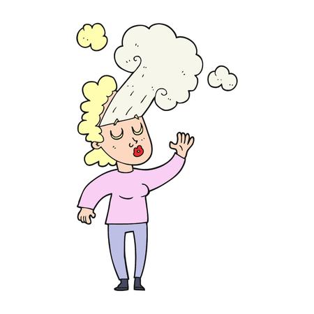 letting: freehand drawn cartoon woman letting off steam