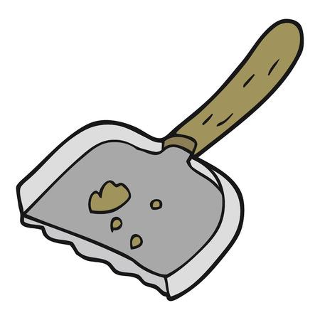 dust pan: freehand drawn cartoon dust pan