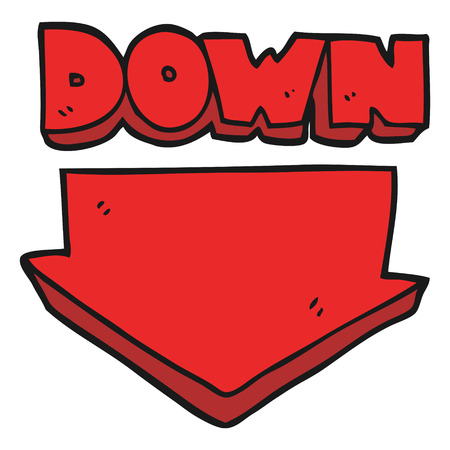 Freehand Drawn Cartoon Down Arrow Symbol Royalty Free Cliparts