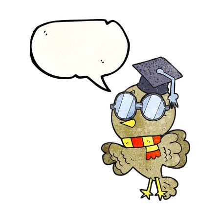educated: cute freehand drawn texture speech bubble cartoon well educated bird