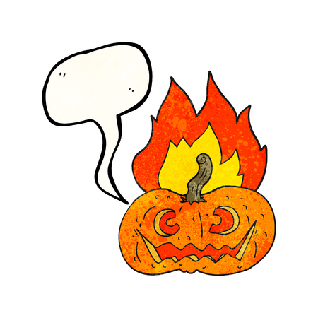 flaming: freehand drawn texture speech bubble cartoon flaming halloween pumpkin