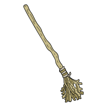 broomstick: freehand drawn cartoon broomstick