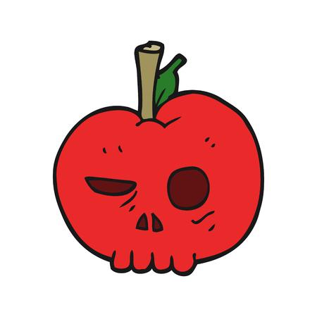 food poison: freehand drawn cartoon poison apple