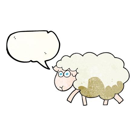 talking cartoon: freehand speech bubble textured cartoon muddy sheep Illustration