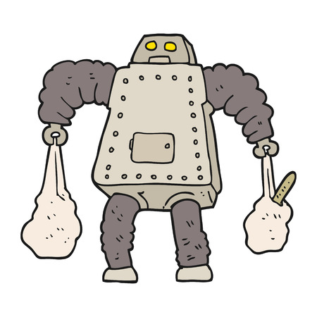 carrying: freehand drawn cartoon robot carrying shopping Illustration
