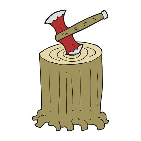 tree stump: freehand drawn cartoon tree stump and axe