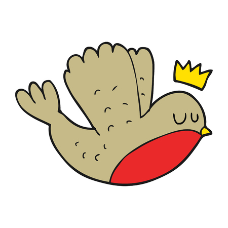 christmas crown: freehand drawn cartoon flying christmas robin with crown