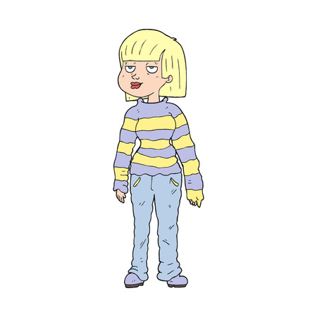 chilled out: freehand drawn cartoon woman in casual clothes Illustration