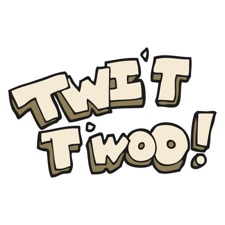 twit: freehand drawn cartoon twit two owl call text