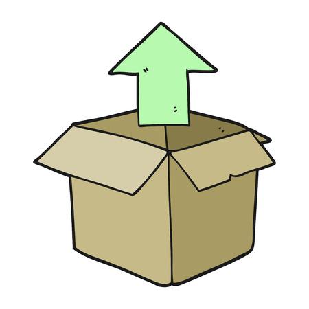 unpacking: freehand drawn cartoon unpacking a box
