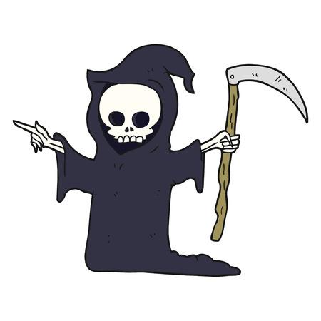 guada�a: dibujado a mano alzada de dibujos animados de la muerte con la guada�a