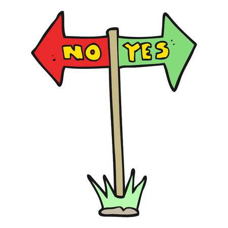 yes or no: freehand drawn cartoon yes and no sign