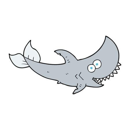 tiburon caricatura: dibujado a mano alzada tibur�n de la historieta Vectores