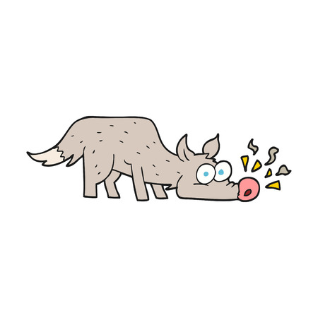 freehand drawn cartoon dog sniffing