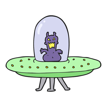 alien clipart: freehand drawn cartoon alien in flying saucer