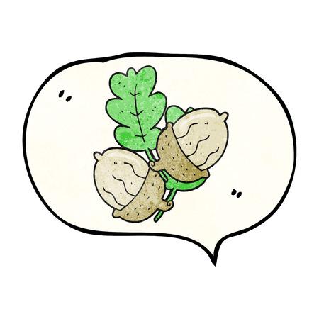 acorns: freehand drawn texture speech bubble cartoon acorns