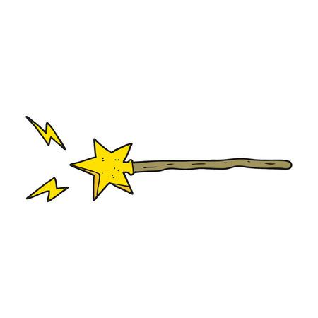 フリーハンドの描かれた漫画の魔法の杖