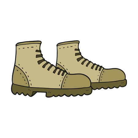 walking boots: freehand drawn cartoon walking boots