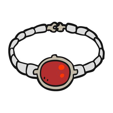 ruby: freehand drawn cartoon ruby bracelet