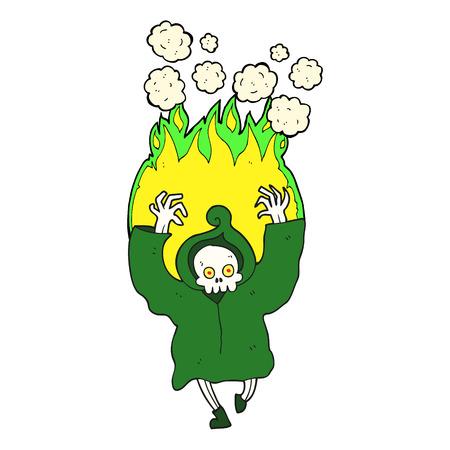 flaming: freehand drawn cartoon dancing flaming death skeleton