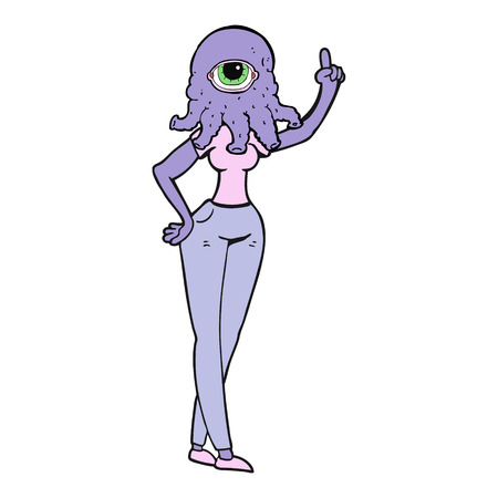 raised hand: freehand drawn cartoon female alien with raised hand Illustration