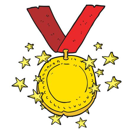 uit de vrije hand getekende cartoon fonkelende gouden medaille