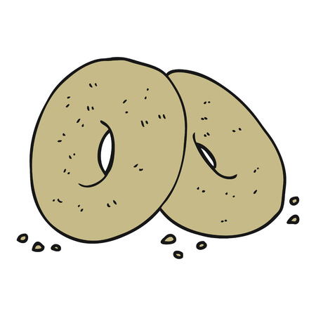 bagels: freehand drawn cartoon bagels