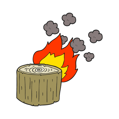 log: freehand drawn cartoon burning log Illustration