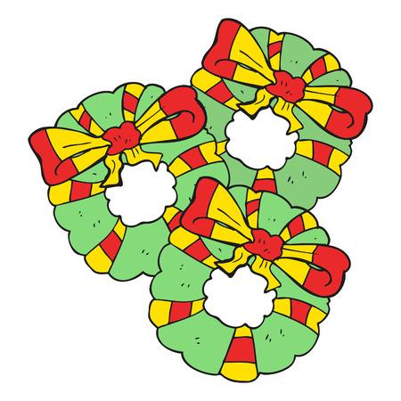 coronas de navidad: dibujado a mano alzada guirnaldas de Navidad de dibujos animados