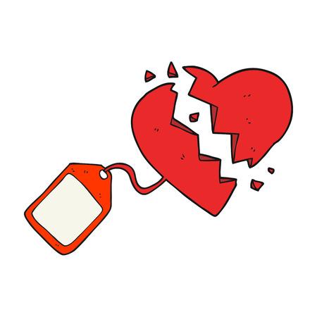 luggage tag: freehand drawn cartoon luggage tag on broken heart Illustration