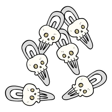 crazy hair: freehand drawn cartoon skull hairclips Illustration