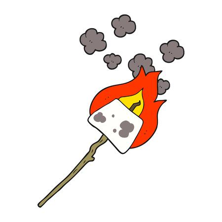 uit de vrije hand getekende cartoon marshmallow op stok Stock Illustratie