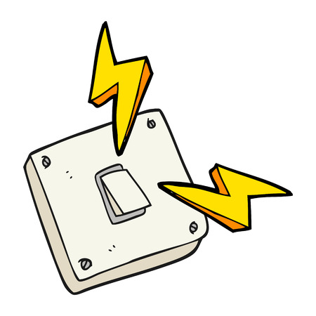 hands of light: freehand drawn cartoon sparking electric light switch