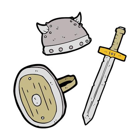 medieval warrior: freehand drawn cartoon medieval warrior objects