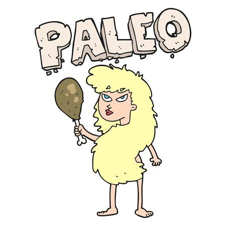 stoneage: freehand drawn cartoon woman on paleo diet