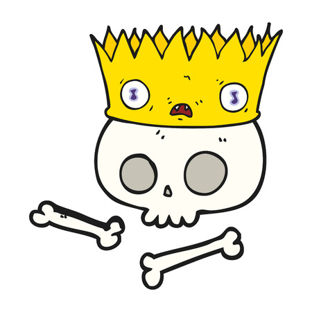 skull with crown: freehand drawn cartoon magic crown on old skull